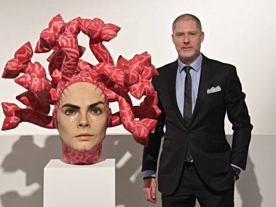 Aspencrow and his Medusa realistic sculpure currently exhibited