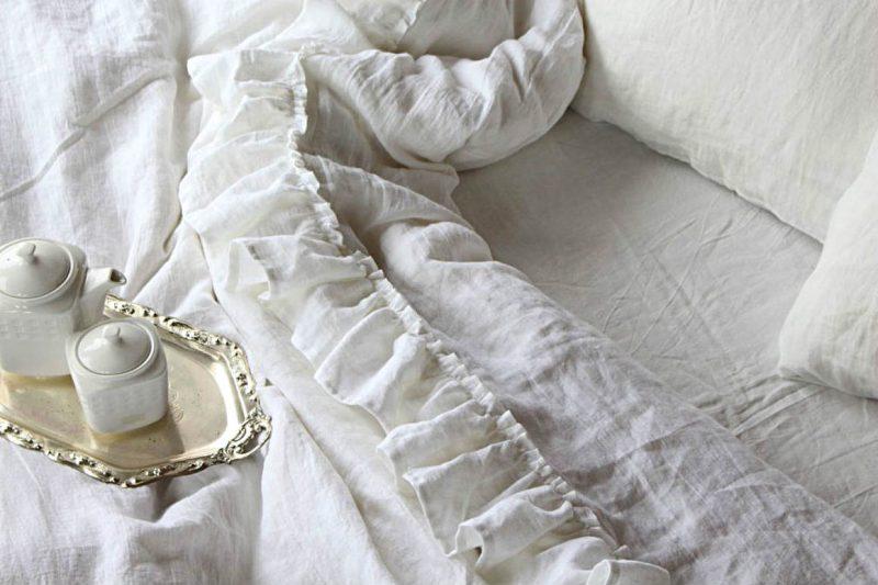 Casadelinos white linen ruffled crushed linen